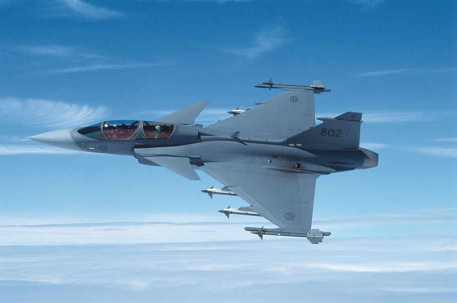Saab Gripen combat aircraft featuring Oxley lights